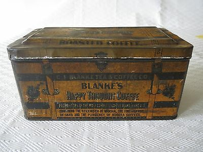 """RARE EARLY 1900's LARGE """"BLANKE'S"""" COFFEES ADVERTISING TIN"""