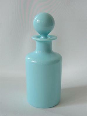 Antique French Blue Opaline Glass Perfume Barber Apothecary Bottle & Stopper P V
