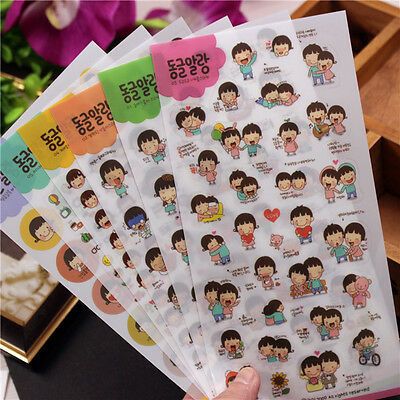 6 sheet childhood partner decoration album notebook diary transparent stickers