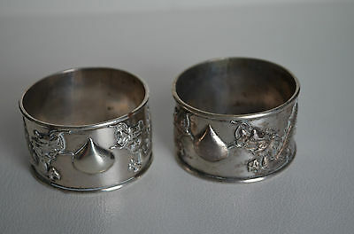 Pair Antique Chinese Export Silver Dragon Napkin Rings Stamped Great Gift