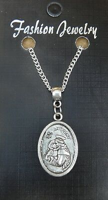 "18"" or 24 Inch Saint St Anthony Pendant Charm & Necklace Religious Sacred Gift"