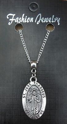 "18"" 24"" Inch Necklace & Oval St Jude Pendant Judas Apostle Lebbaeus Holy Saint"