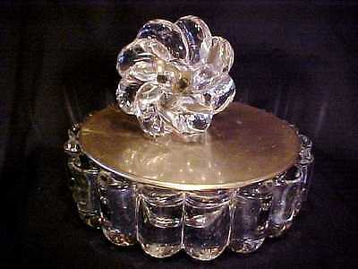 Vintage HEISEY Elegant CRYSTAL GLASS & BRASS METAL #1503 Crystolite CANDY BOX