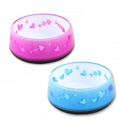 All For Paws AFP Anti Slip Cat Kitten Bowl Fish Design Pink Blue