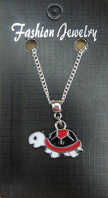 """18"""" 24"""" Inch Chain Necklace & Coloured Tortoise Pendant Charm Animal Lovers Gift"""