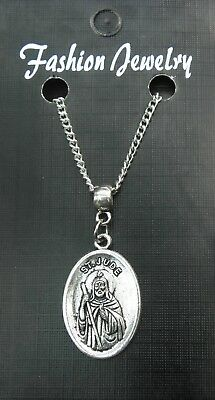 "18"" or 24"" Inch Chain Necklace & St Jude Pendant Charm Religious Holy Saint"