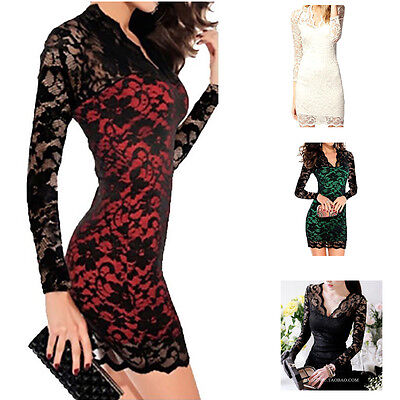 Fashion Women Sexy Long Sleeve Evening Party Cocktail Lace Mini Dress Clubwear