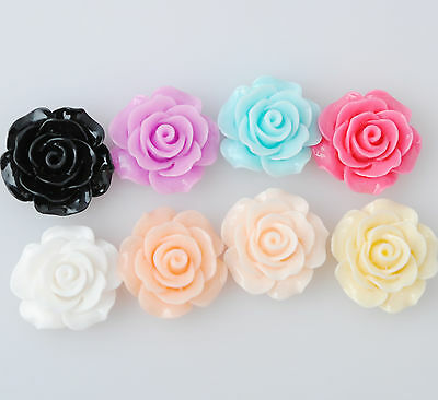 10pcs Blooming Acrylic Rose Flower DIY Earring Accessory Plastic Decor  B001