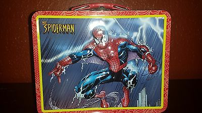 Spider-Man 3D Embossed Lunch Box - New Marvel 2001 Metal Lunch Box