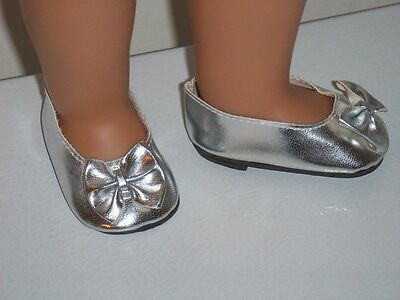 "Silver Slip-on Shoes With Bow Fits 18"" American Girl Doll Clothes"