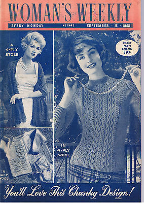 WOMANS WEEKLY MAGAZINE KNITTING BOOK 2445 SEPT 13TH 1958 4 PLY VTG++