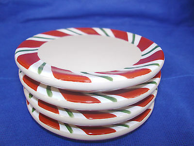 4 Coasters or Small Plates PEPPERMINT TWIST Candy Cane style Longaberger New