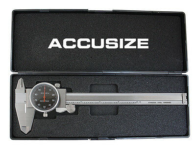 """6"""" x 0.001"""" Black Face Dial Caliper Stainless Steel in Fitted Box, #P920-B216"""