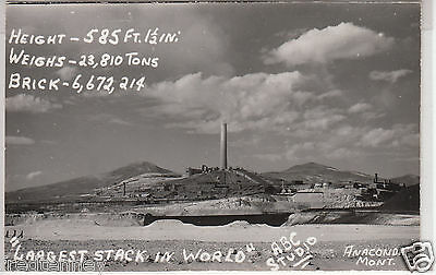 RPPC - Anaconda, Mont. - Largest Stack in the World - 1950s era