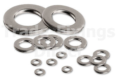 A2 Stainless Steel Flat Washers Form A M4, M5, M6, M8, M10, M12, M16, M18, M20
