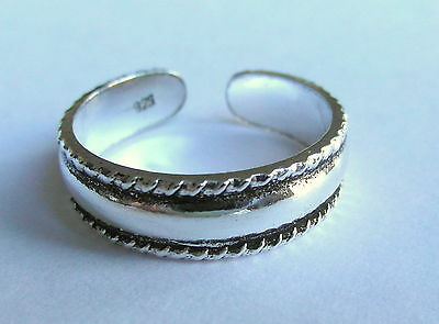Sterling Silver (925) Adjustable Toe Ring Plated  Plain Band !!     Brand New !!