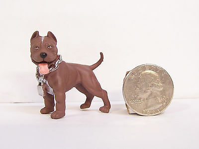 "Brown Pitbull Pit bull Bully Dog 2"" Figure Figurine Homie Hood Hound NEW"