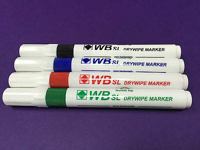 4 X Drywipe Markers  Bullet Tip (1 X Blue/green/red/black) - Free P&p!