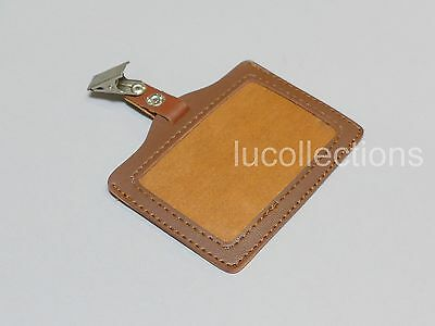 Lot of 5 Horizontal PU leather ID Badge Holder + Clip H148