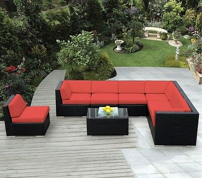 Ohana Outdoor Patio Wicker Sectional Furniture  8pc Set- Red or Brown