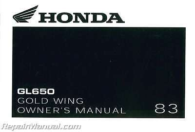 1983 Honda GL650 Silver Wing Motorcycle Owners Manual - 800-426-4214