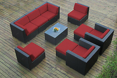 Ohana Outdoor Patio Wicker  Sectional Furniture 10pc Set - Red
