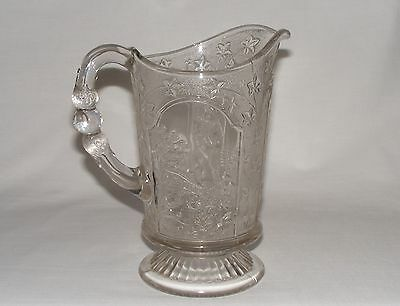 "ANTIQUE VICTORIAN 9"" EARLY AMERICAN PRESSED GLASS PITCHER  JUG  Eapg CANADIAN"
