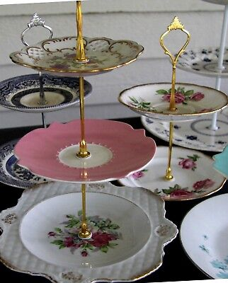 2x3 tier sets Vintage Cake Plate Stand fittings2make Wedding centre High tea DIY