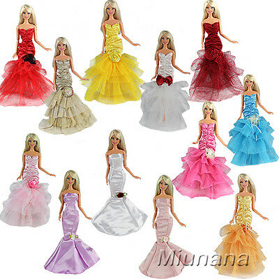 3 Pcs Princess Evening Wedding Party Dress Clothes Gown Outfit For Barbie Doll