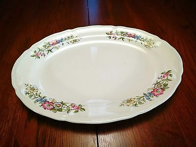 """Edwin Knowles China Co Floral Cream Platter 12""""  Made in USA"""