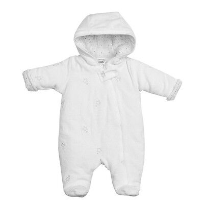 Baby White Star Pattern Velour Snowsuit Newborn/0-3/3-6 Months Babys/Girls/Boys