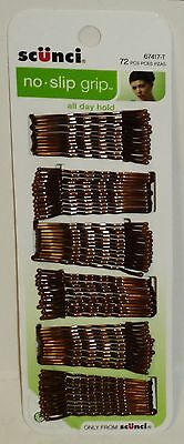 Scunci No Slip Grip Bobby Pins All Day Hold Bobbies Stay In Place 72ct BROWNISH