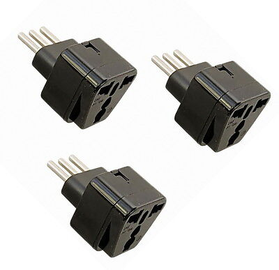 3x HQRP Portable Italian Grounded Universal Travel Plug Adapter 110V-240V