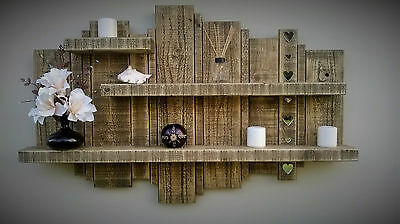 Rustic Reclaimed Handmade Floating Wall Timber Shelf & Mirror Wood Display Unit