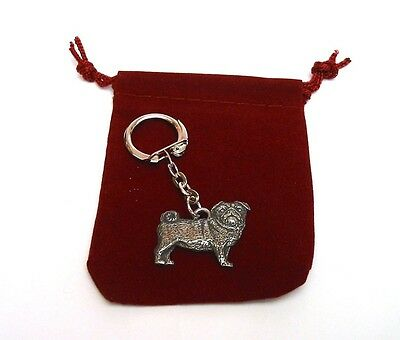Pug Dog Pewter Keyring FREE POUCH Xmas Mothers Day Super Collectable Pug Gift