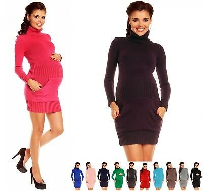 Zeta Ville Women's Maternity Knit Mini Dress Tunic Polo Neck Front Pocket - 178c