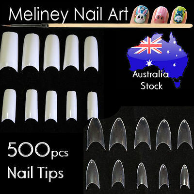 500 Pcs Fake French Nail Tips White Clear Stiletto False Gel Pointy Art Acrylic