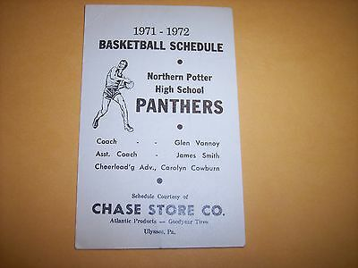 - 1971/ 1972 - Northern Potter H. S. - Basketball Schedule  ULYSSES  PENN.