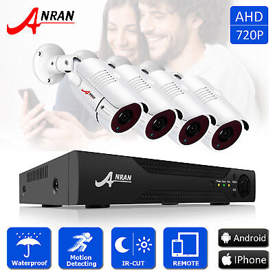 ANRAN 4CH 720P AHD HDMI 1800TVL DVR Outdoor HD Home CCTV Security Camera System