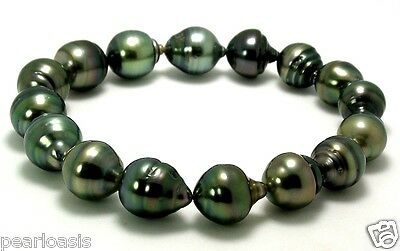 10MM - 11.4X13MM Gray/Green Baroque Tahitian Cultured Pearl Stretch Bracelet. 8""