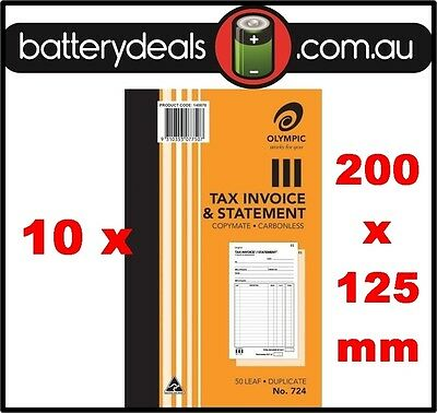 10 Olympic No724 Tax Invoice and Statement Carbonless Book 724 50 Leaf 200 x 125