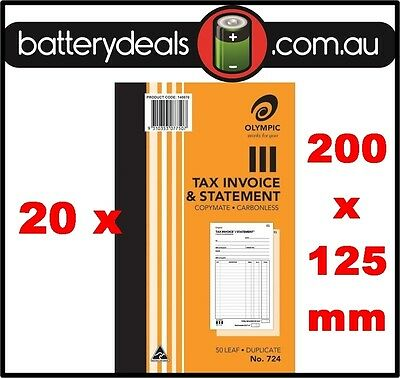 20 Olympic No724 Tax Invoice and Statement Carbonless Book 724 50 Leaf 200 x 125