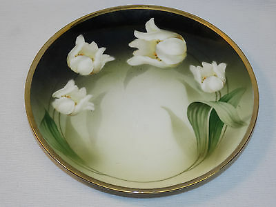VINTAGE RS GERMANY REINHOLD SCHLEGELMILCH PLATE W/ WHITE TULIPS GOLD TRIM
