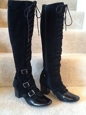 Pied Juste Anthropologie Leather Tall Knee High Lace Up Boots EU 39 US 8