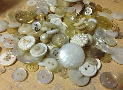 Vintage white buttons lot of 50
