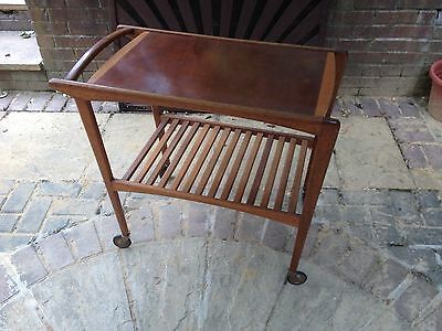 An Original Vintage Danish Solid Wood Tea Caddy, Trolley In Great Condition