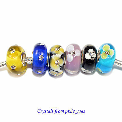 Gorgeous Glass Big Hole Charm Bead with Rhinestones fit European Bracelet