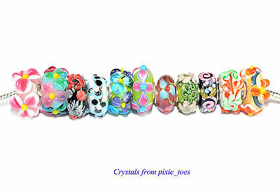 Handmade Lampwork Murano Glass Flower Charm Bead, Big Hole fit European Bracelet