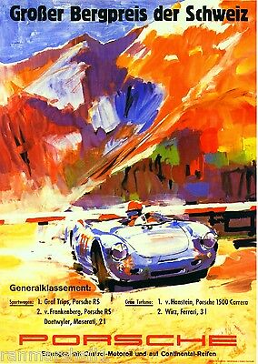 1957 Porsche Grober Automobile Race Racing Car Advertisement Vintage Poster