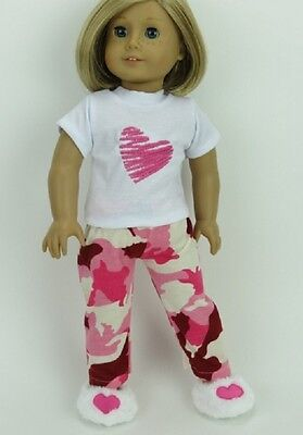 """Doll Clothes Made To Fit 18"""" American Girl Pink Camo Sleep Pajamas PJs Slippers"""